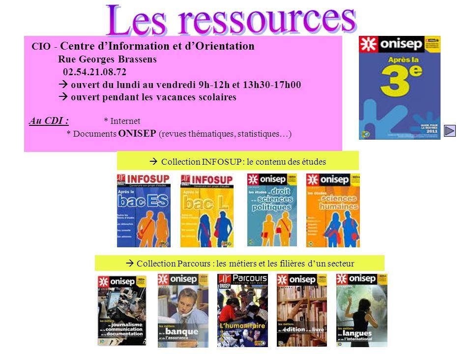 Les ressources CIO - Centre d'Information et d'Orientation