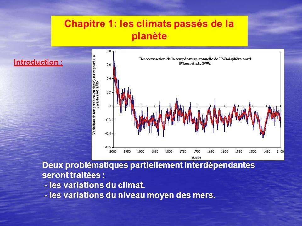 Chapitre 1: les climats passés de la planète