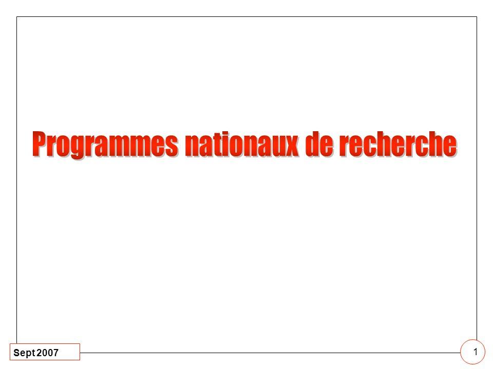 Programmes nationaux de recherche