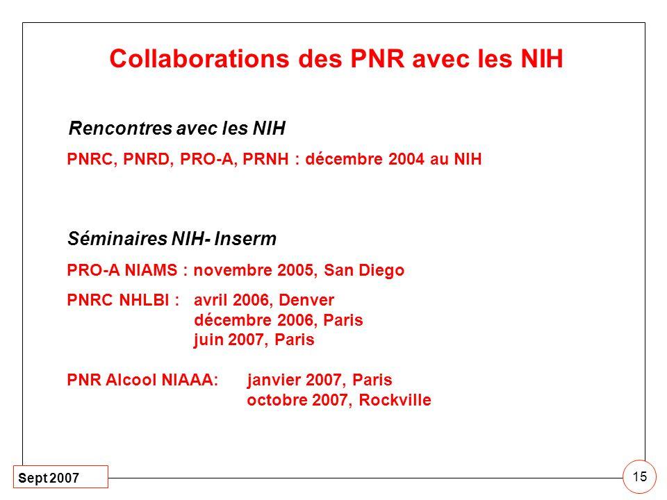 Collaborations des PNR avec les NIH