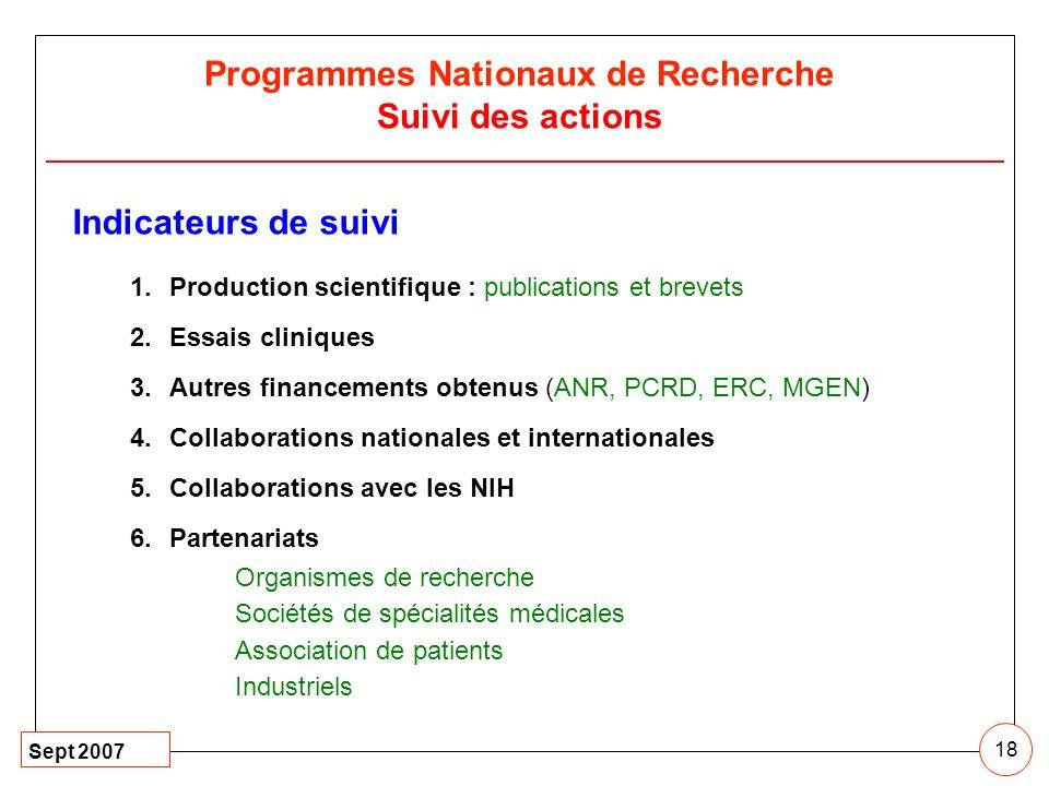 Programmes Nationaux de Recherche Suivi des actions
