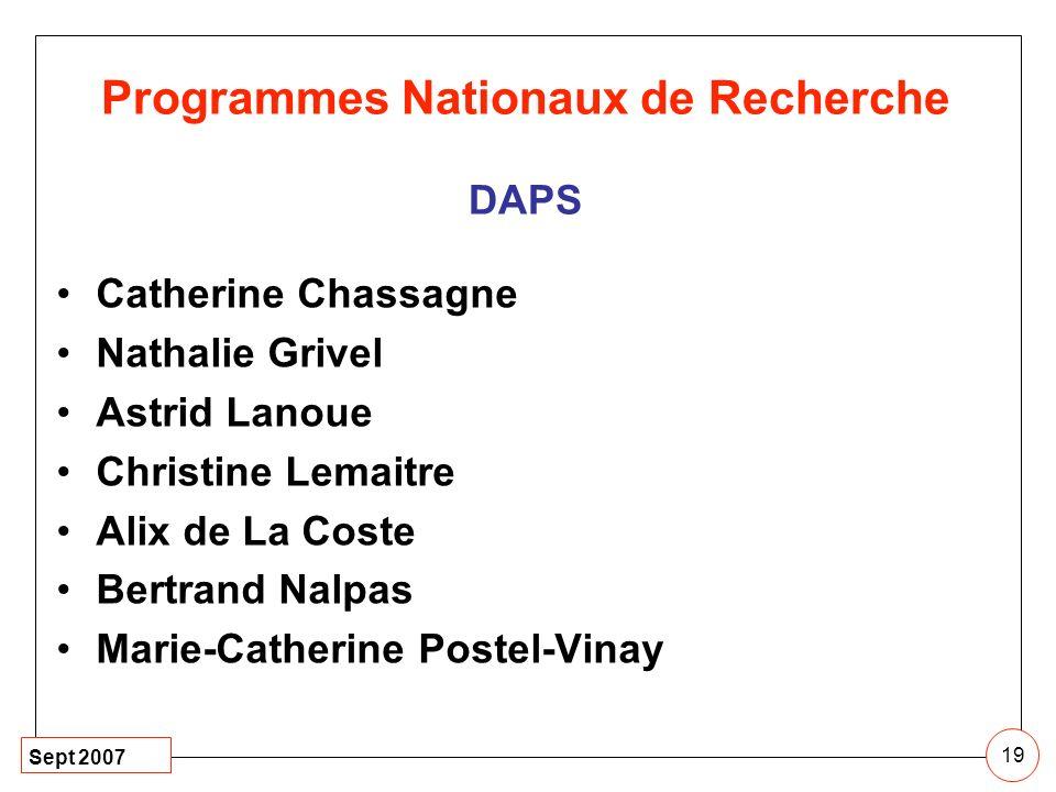 Programmes Nationaux de Recherche DAPS