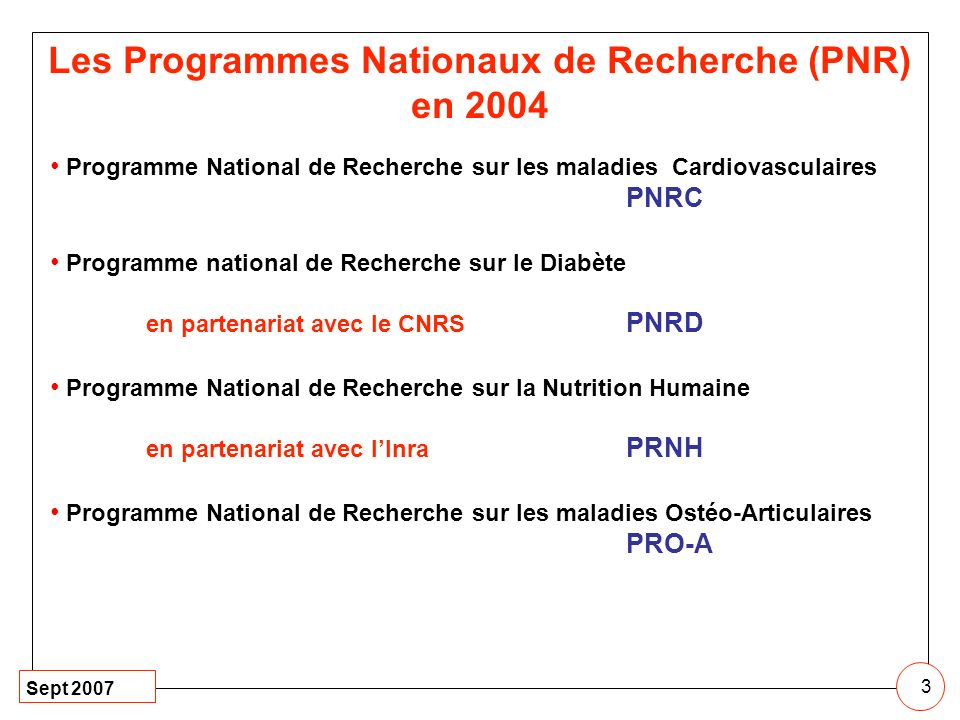 Les Programmes Nationaux de Recherche (PNR) en 2004