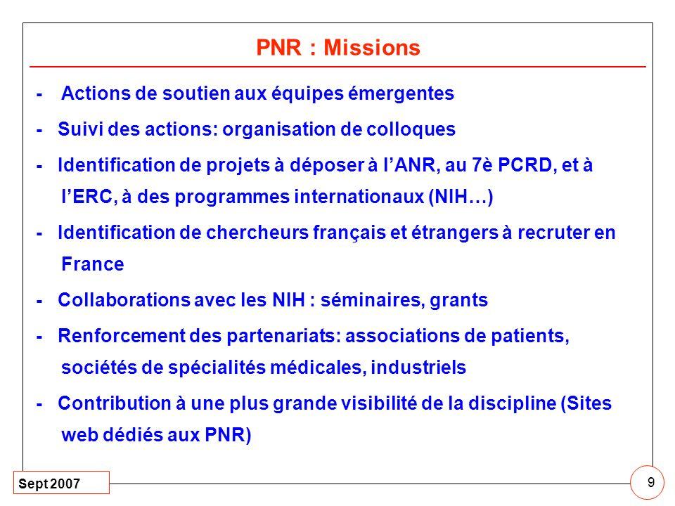PNR : Missions - Actions de soutien aux équipes émergentes
