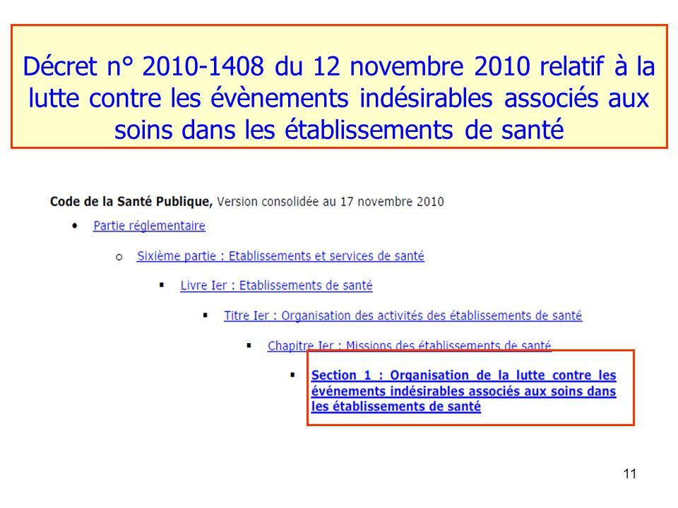 Décret n° 2010-1408 du 12 novembre 2010 relatif à la lutte contre les évènements indésirables associés aux soins dans les établissements de santé