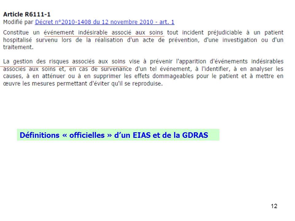 Définitions « officielles » d'un EIAS et de la GDRAS