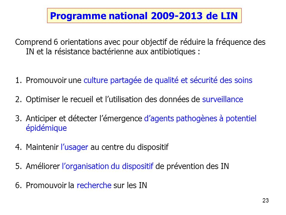 Programme national 2009-2013 de LIN