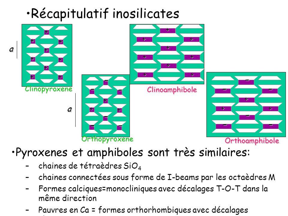 Récapitulatif inosilicates