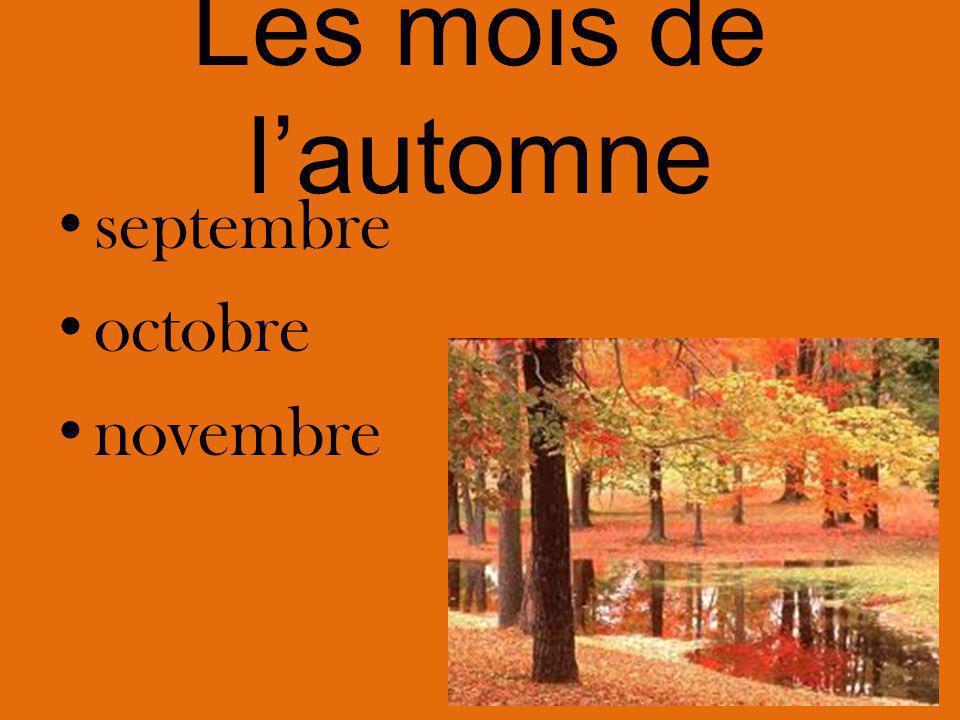 Les mois de l'automne septembre octobre novembre