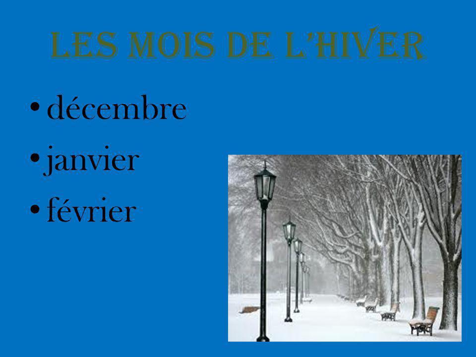 Les mois de l'hiver décembre janvier février
