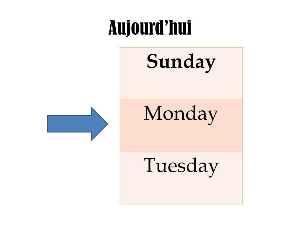 Aujourd'hui Sunday Monday Tuesday
