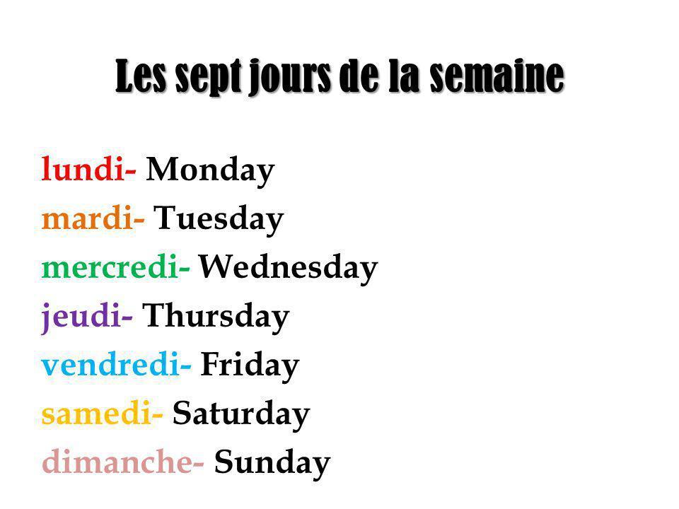Les sept jours de la semaine