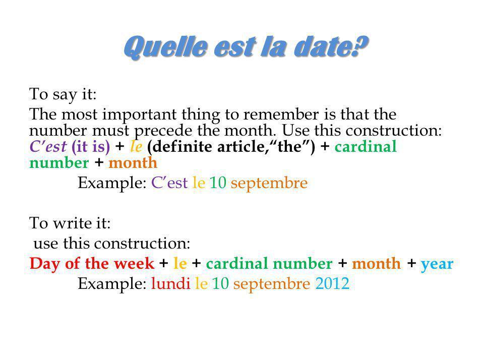 Quelle est la date