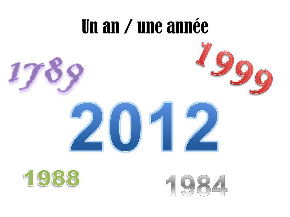 Un an / une année 1789 1999 2012 1988 1984