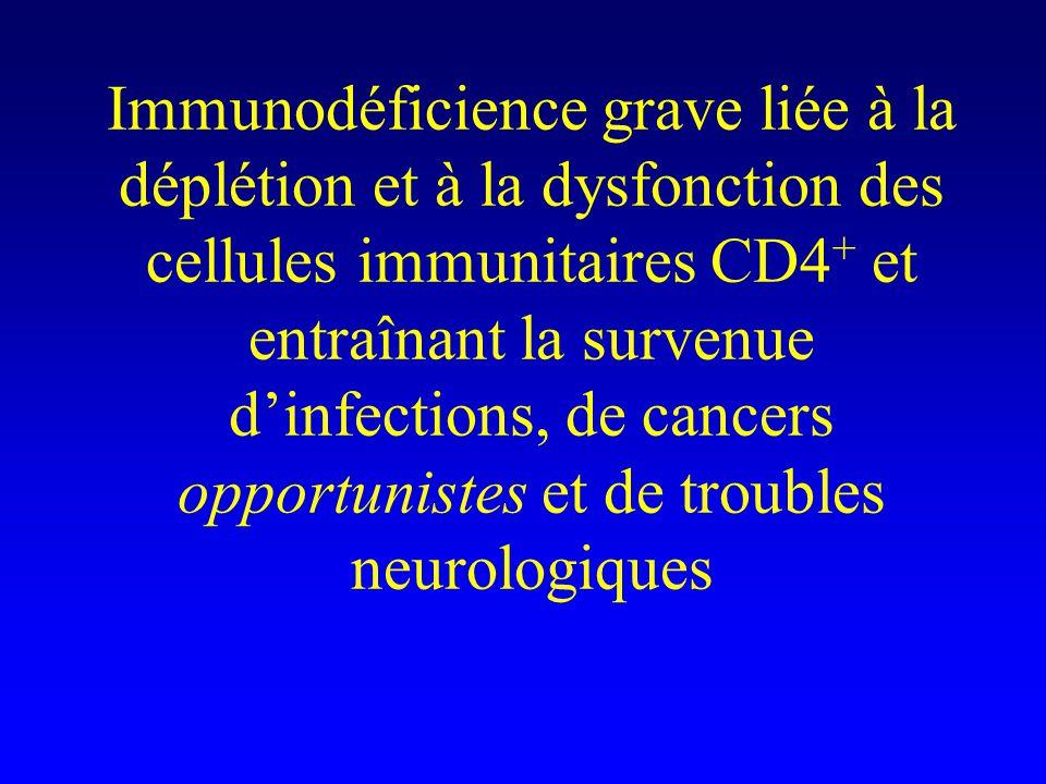 Immunodéficience grave liée à la déplétion et à la dysfonction des cellules immunitaires CD4+ et entraînant la survenue d'infections, de cancers opportunistes et de troubles neurologiques