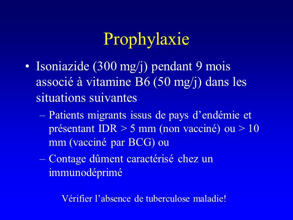 Prophylaxie Isoniazide (300 mg/j) pendant 9 mois associé à vitamine B6 (50 mg/j) dans les situations suivantes.