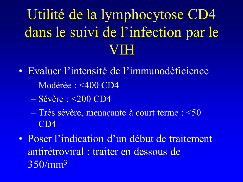 Utilité de la lymphocytose CD4 dans le suivi de l'infection par le VIH