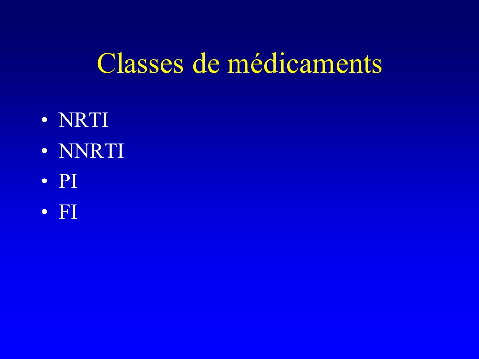 Classes de médicaments
