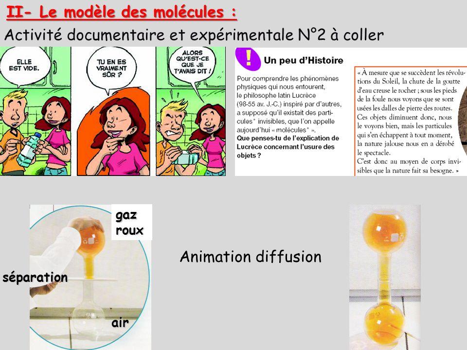 II- Le modèle des molécules :