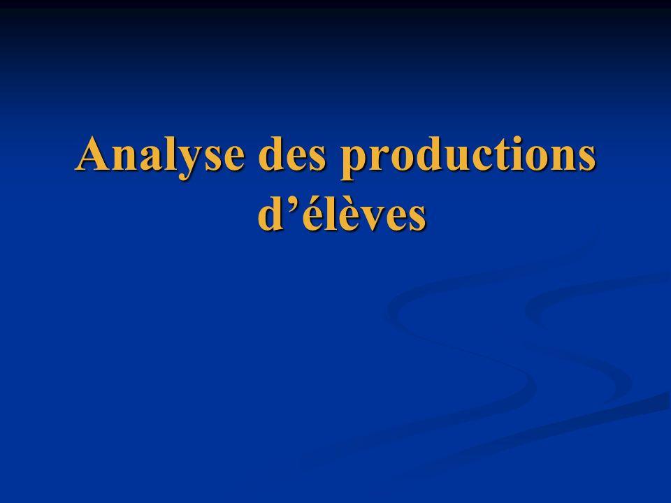Analyse des productions d'élèves