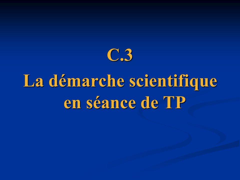 La démarche scientifique en séance de TP