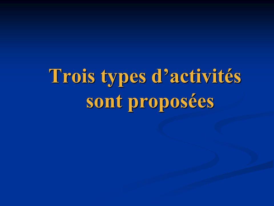 Trois types d'activités sont proposées