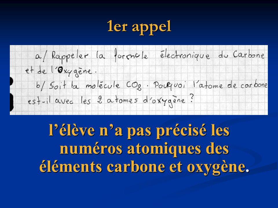 1er appel l'élève n'a pas précisé les numéros atomiques des éléments carbone et oxygène.