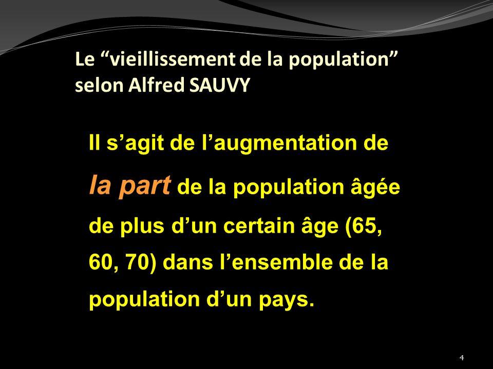 la part de la population âgée