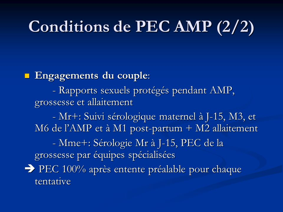 Conditions de PEC AMP (2/2)