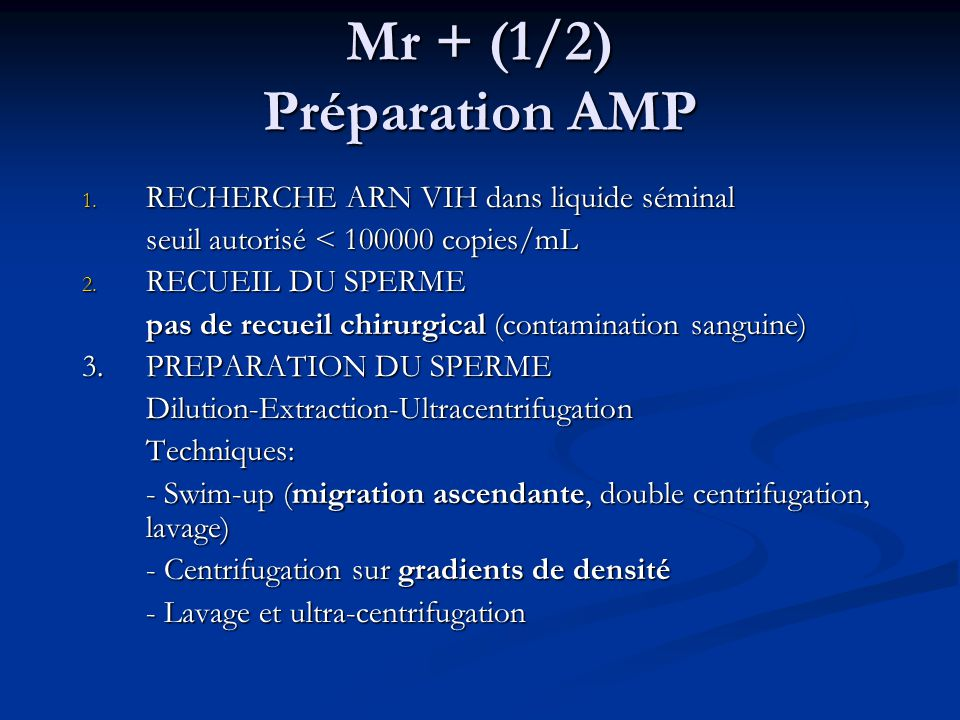 Mr + (1/2) Préparation AMP