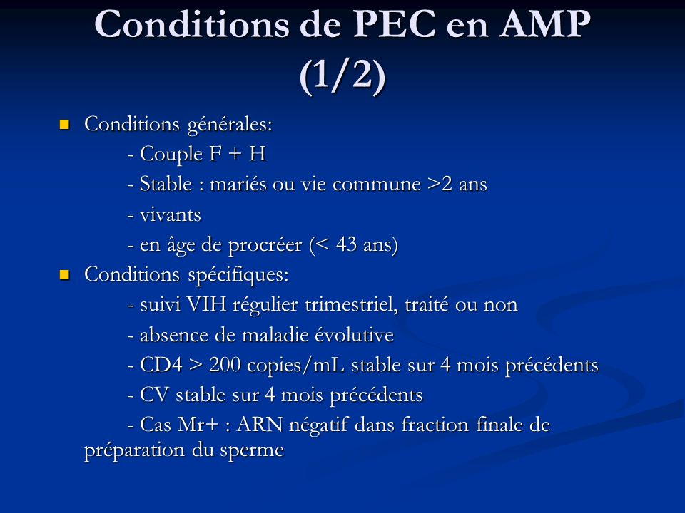 Conditions de PEC en AMP (1/2)