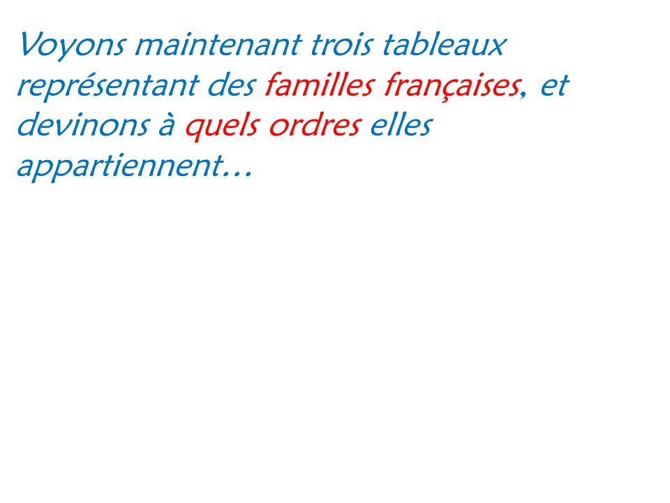 Voyons maintenant trois tableaux représentant des familles françaises, et devinons à quels ordres elles appartiennent…