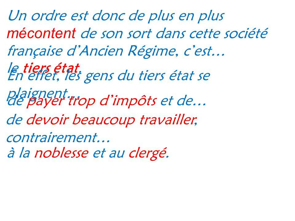 Un ordre est donc de plus en plus mécontent de son sort dans cette société française d'Ancien Régime, c'est…