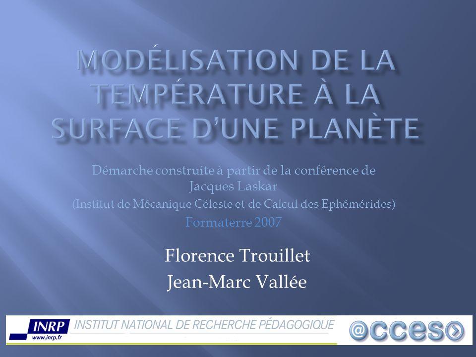 Modélisation de la Température à la surface d'une planète