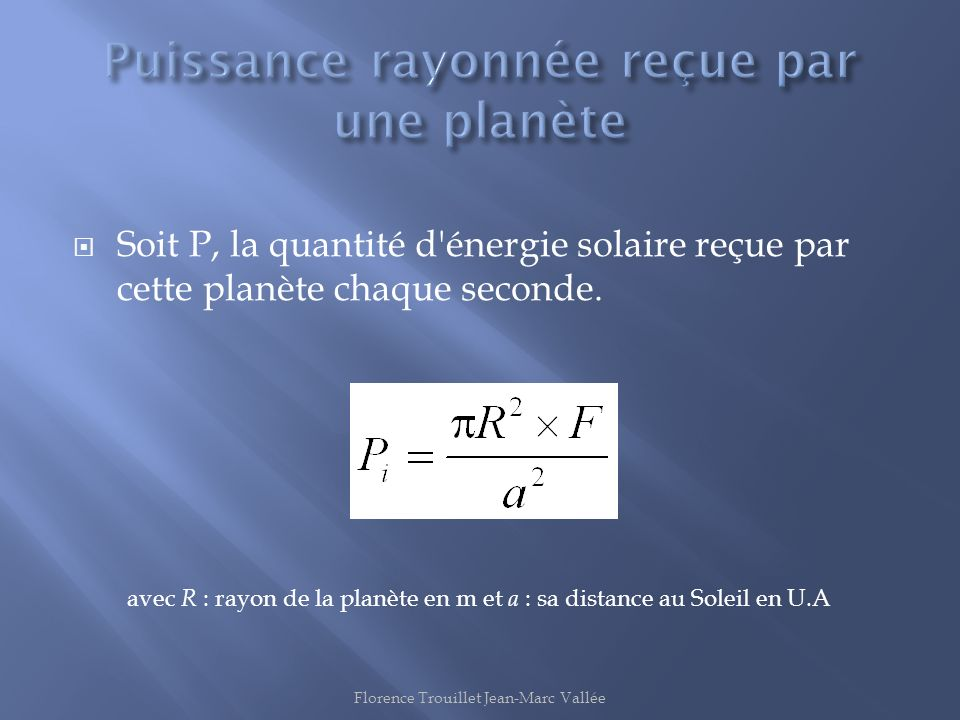 Puissance rayonnée reçue par une planète