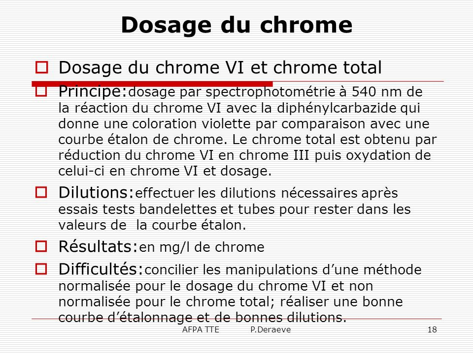 Dosage du chrome Dosage du chrome VI et chrome total