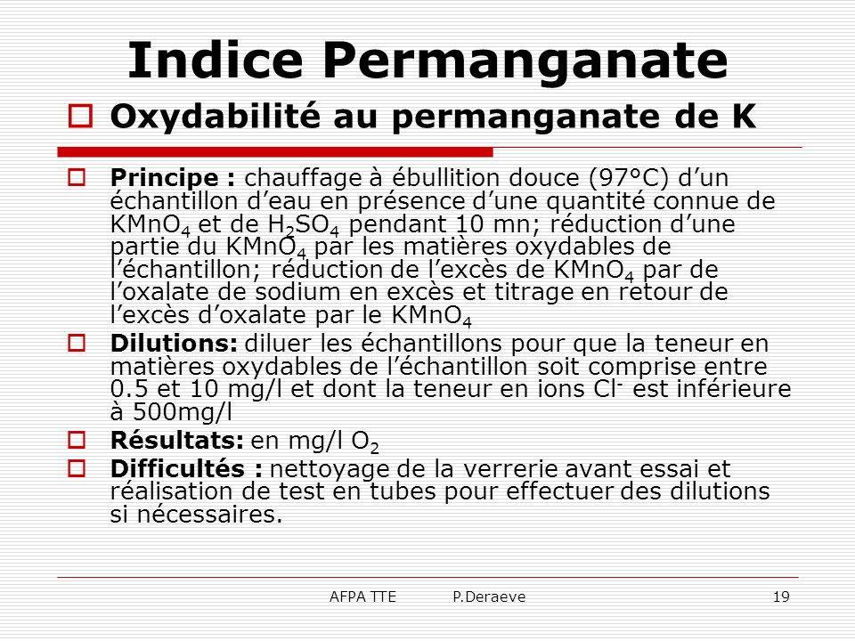 Indice Permanganate Oxydabilité au permanganate de K