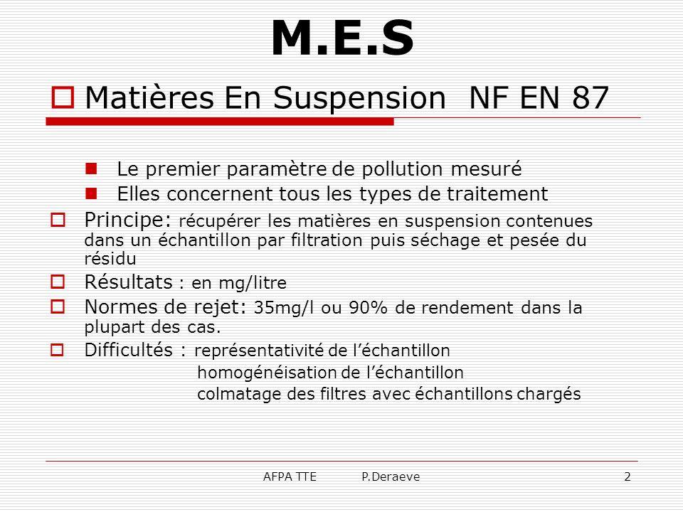 M.E.S Matières En Suspension NF EN 87