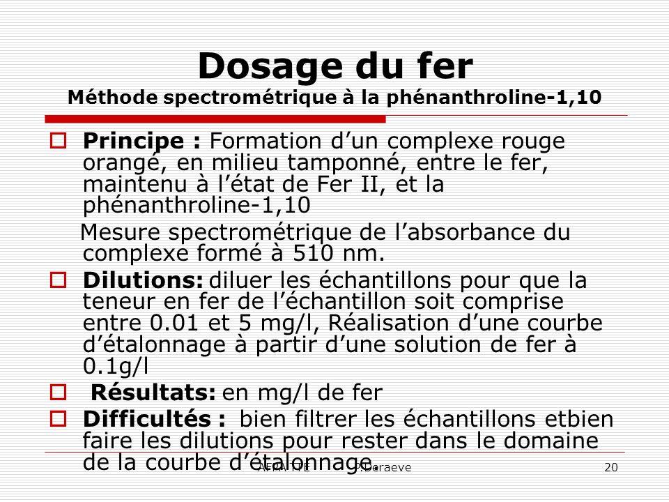 Dosage du fer Méthode spectrométrique à la phénanthroline-1,10