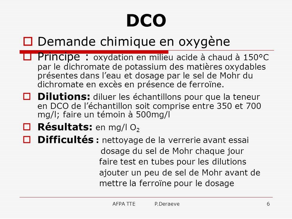 DCO Demande chimique en oxygène
