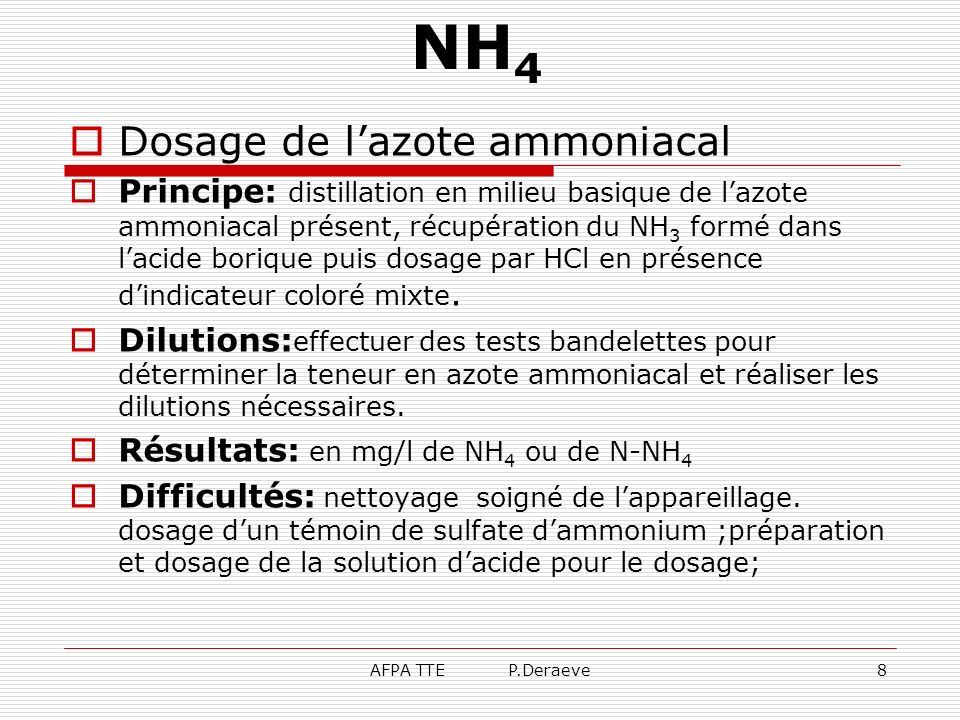 NH4 Dosage de l'azote ammoniacal