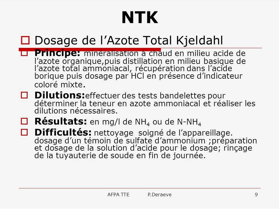 NTK Dosage de l'Azote Total Kjeldahl