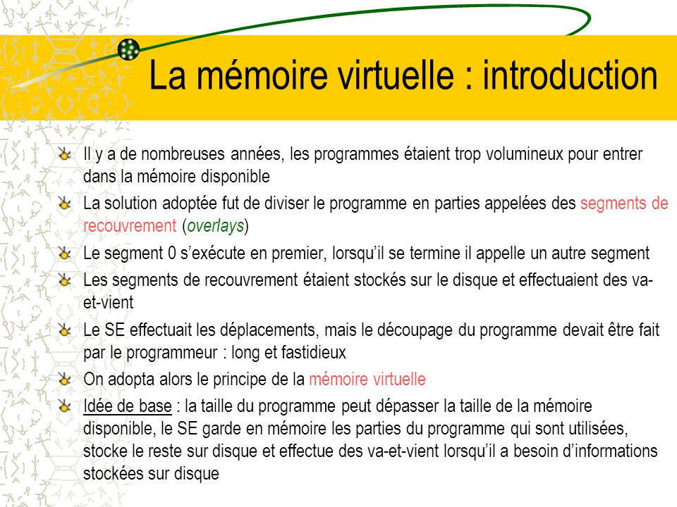 La mémoire virtuelle : introduction