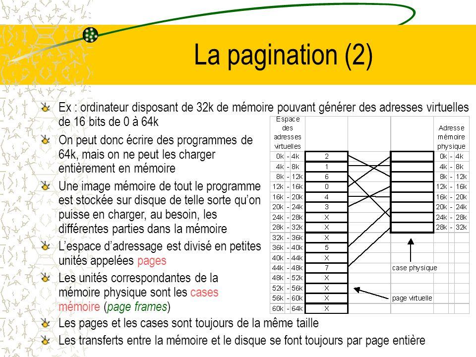 La pagination (2) Ex : ordinateur disposant de 32k de mémoire pouvant générer des adresses virtuelles de 16 bits de 0 à 64k.