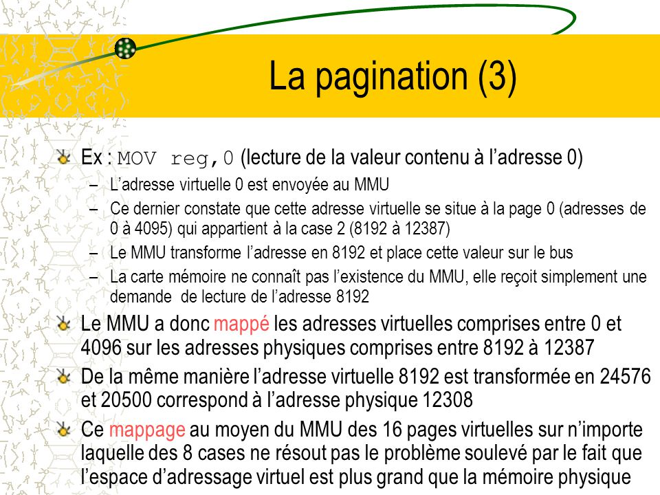 La pagination (3) Ex : MOV reg,0 (lecture de la valeur contenu à l'adresse 0) L'adresse virtuelle 0 est envoyée au MMU.
