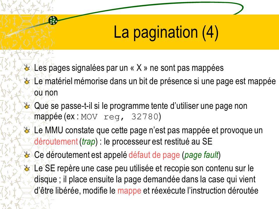 La pagination (4) Les pages signalées par un « X » ne sont pas mappées