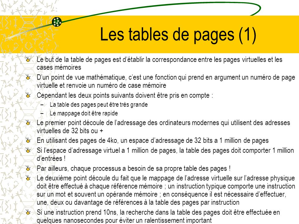 Les tables de pages (1) Le but de la table de pages est d'établir la correspondance entre les pages virtuelles et les cases mémoires.