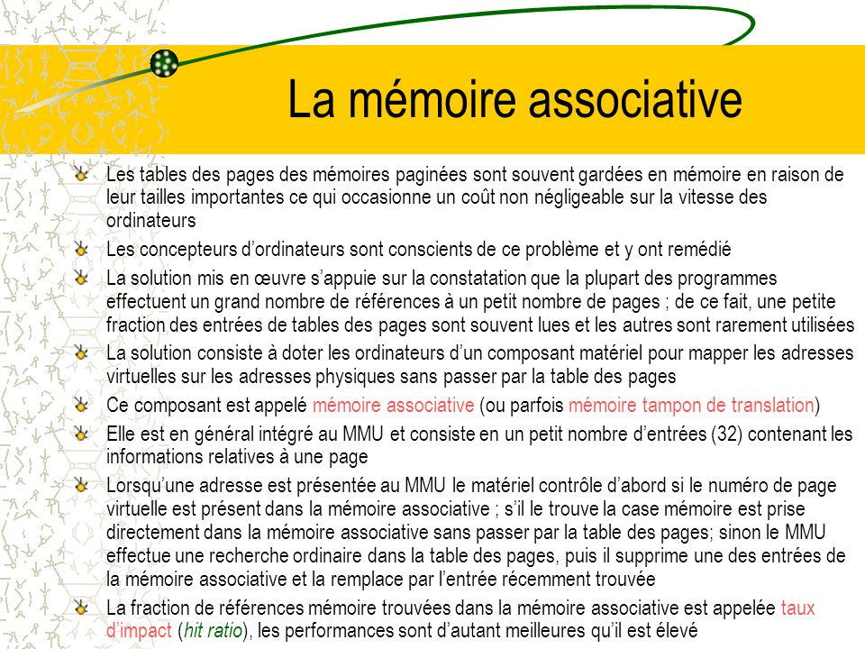 La mémoire associative