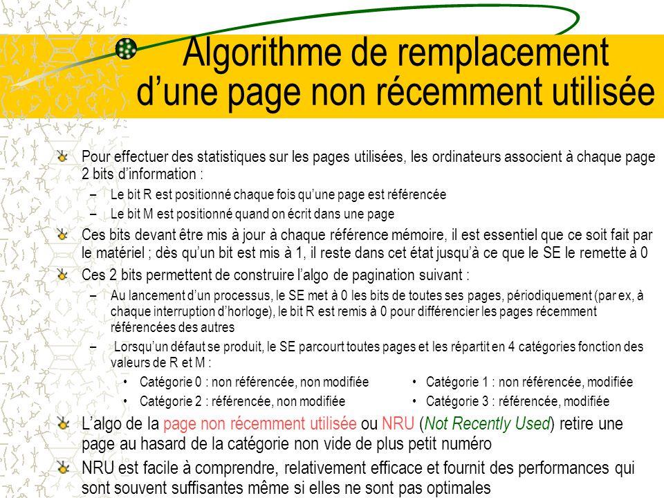 Algorithme de remplacement d'une page non récemment utilisée