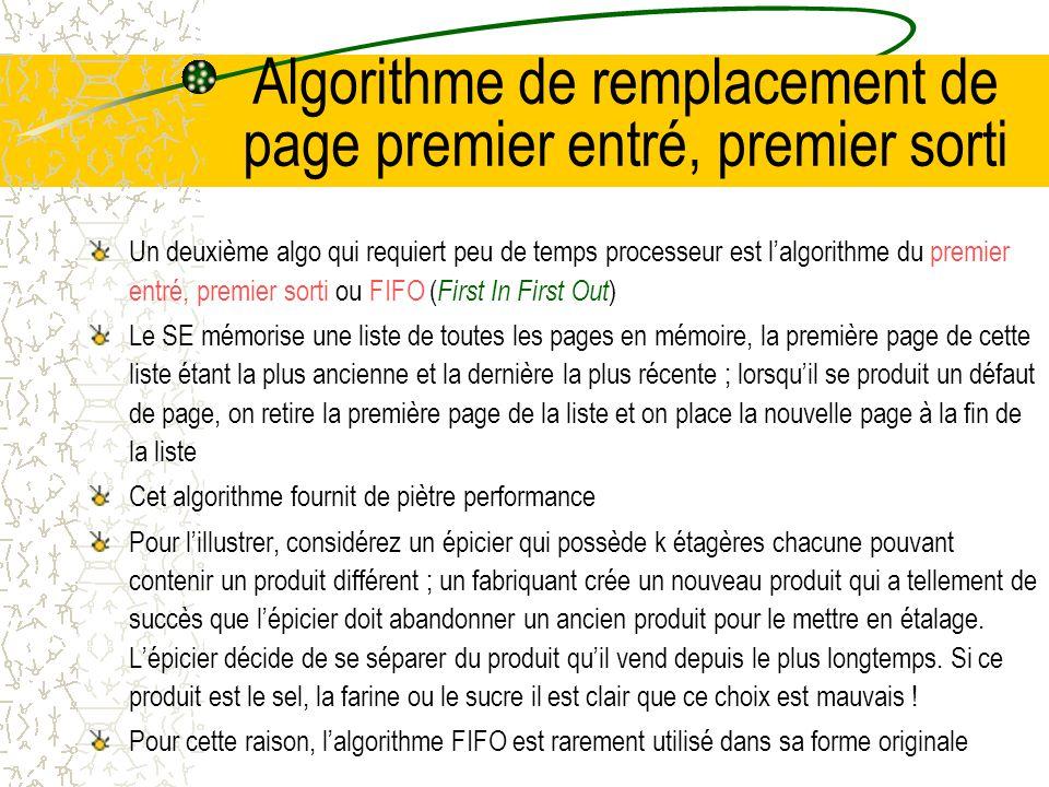 Algorithme de remplacement de page premier entré, premier sorti